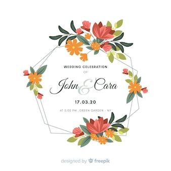 花のフレームでの結婚式の招待状