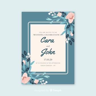 花と青い結婚式招待状