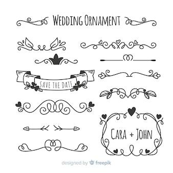 手描きの結婚式の装飾品のセット