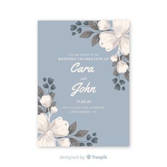 水彩花の美しい水色の結婚式の招待状