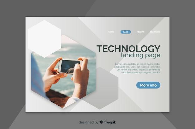電話と幾何学的図形を含むランディングページ