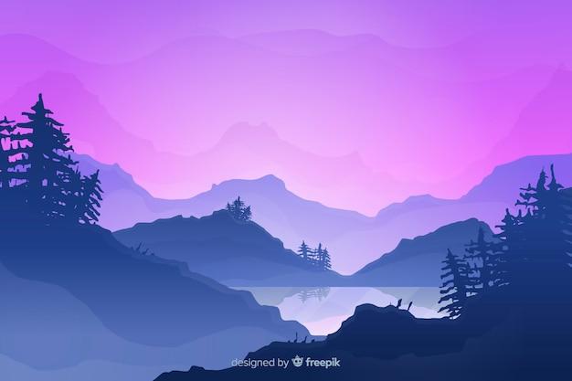 グラデーション山の風景の背景