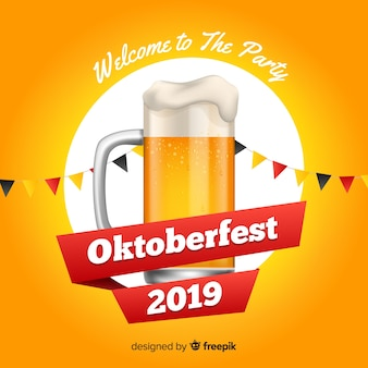 ビールのグラスとフラットなデザインオクトーバーフェスト