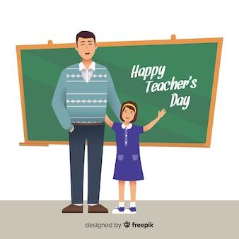 Плоский дизайн счастливый день учителя на борту