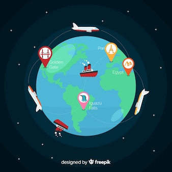 地球とフラットなデザイン世界観光デー