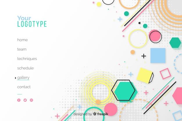 図形と白い背景の幾何学的なランディングページ