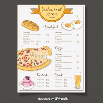 Плоский дизайн шаблона меню ресторана