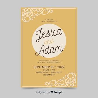 レトロなデザインの結婚式の招待状