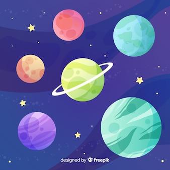 フラットなデザインの太陽系惑星のコレクション