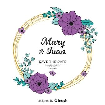 花のフレームの結婚式の招待状の手描き