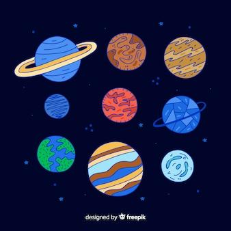 カラフルな太陽系の惑星のセット