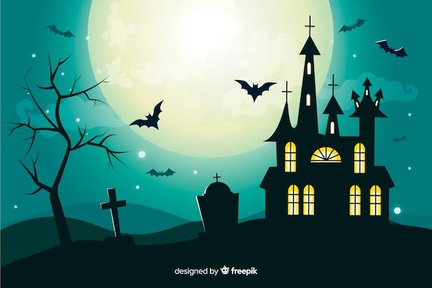 Плоский хэллоуин фон с домом с привидениями на полную луну