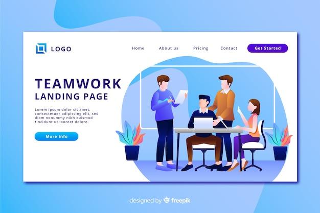 Целевая страница с плоской командой дизайнеров