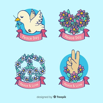手描きの平和の日ラベルコレクション