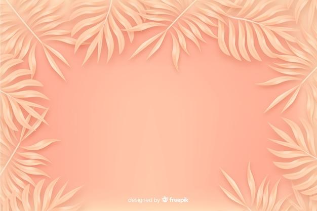 オレンジ色のモノクロ背景に葉