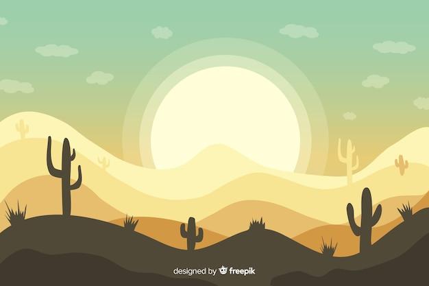 Пустынный пейзаж фон с кактусом и солнцем