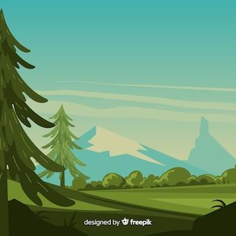 Пейзаж с горами и деревьями
