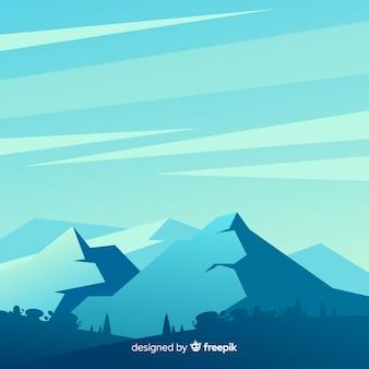 Иллюстрированный голубой градиент горы пейзаж