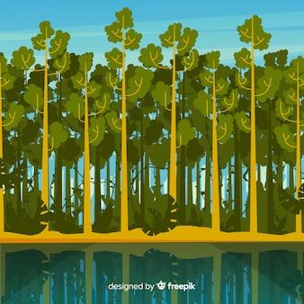 Тропический пейзаж с деревьями и рекой