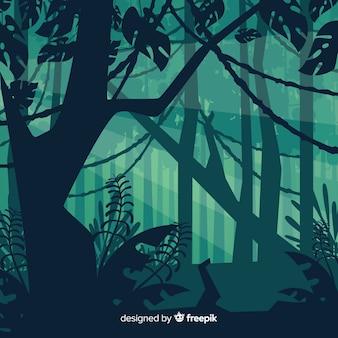 Зеленый тропический лесной пейзаж