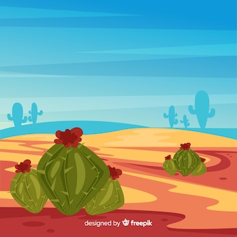 Иллюстрированный пустынный ландшафт фон с кактусом