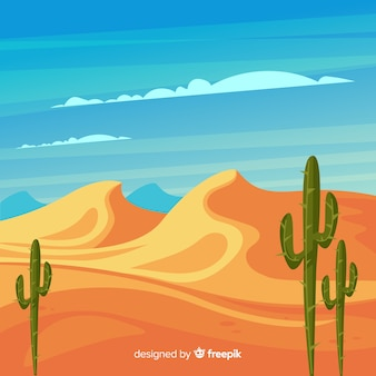 Иллюстрированный пустынный пейзаж с кактусом