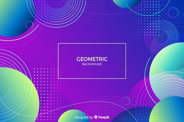 グラデーションの幾何学的形状を持つメンフィスの背景