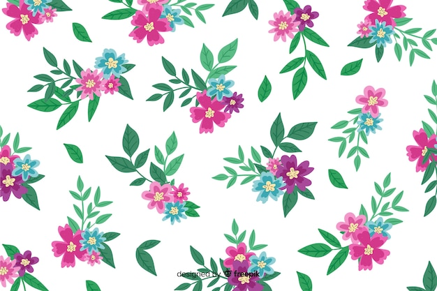 手描きの背景にピンクの花