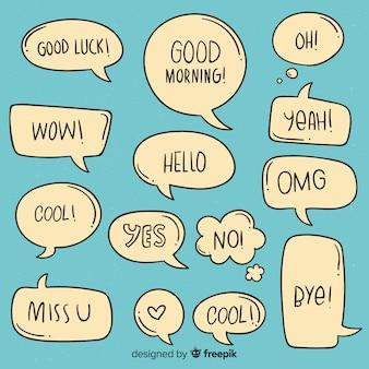 Минималистские речевые пузыри с разными выражениями