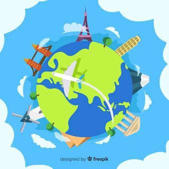 Нарисованные от руки достопримечательности всемирного дня туризма