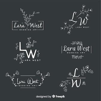 結婚式の花屋のロゴのセット