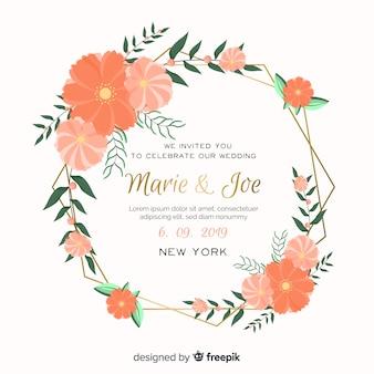 オレンジ色の花のフレームの結婚式の招待状