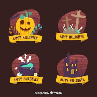 Коллекция этикеток хэллоуин на черном фоне