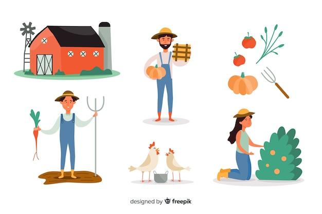 農業で働く市民のセット