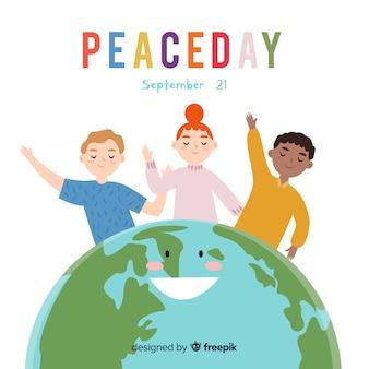 Нарисованные от руки дети в мирный день