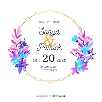 フラットなデザインの花のフレームの結婚式の招待状