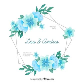 水彩花のフレームと結婚式の招待状