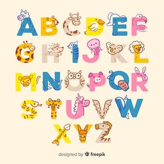 かわいい文字で動物のアルファベット
