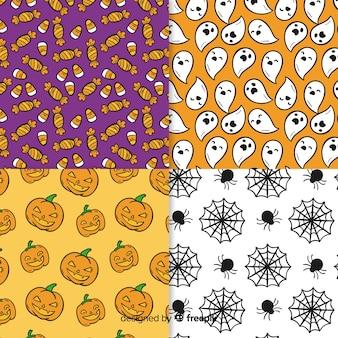ハロウィーンの不気味なパターンの手描き