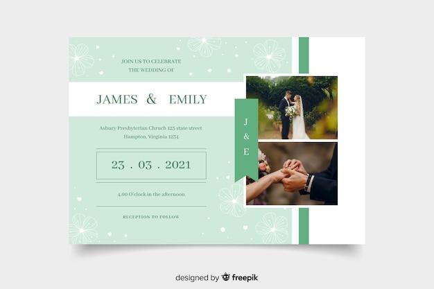 写真で結婚式の招待を祝うカップル