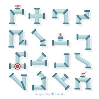 Плоский дизайн коллекции трубопроводов