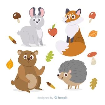 フラットなデザインの秋の森の動物