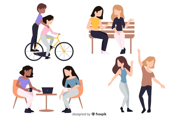 Плоский дизайн персонажей юных девушек профессий