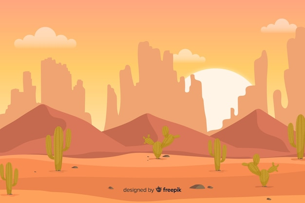 Оранжевая пустыня с зелеными кактусами