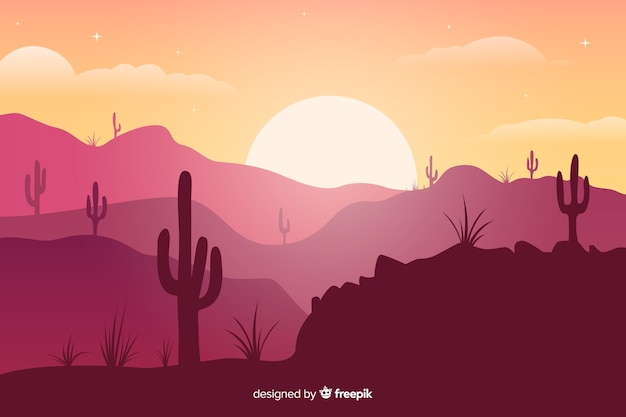 サボテンと明るい太陽の下でピンクの色合いの砂漠