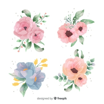 Коллекция акварельных цветочных букетов