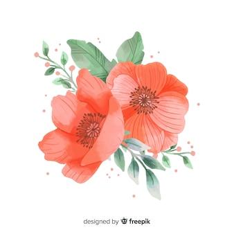 Коралловый цветок с акварелью