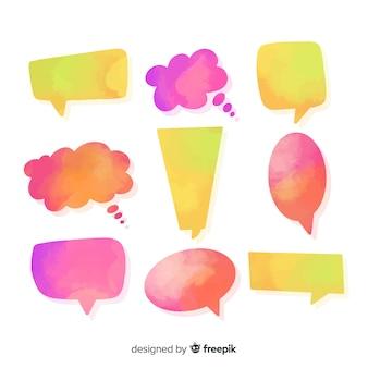 図形の多様性で水彩化された多色の吹き出し