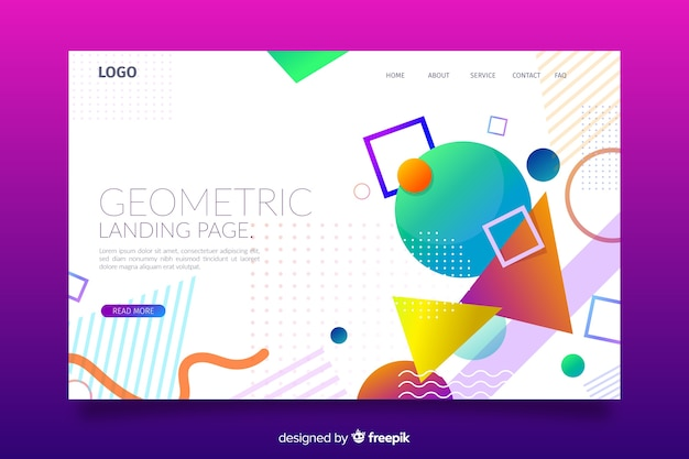 カラフルな幾何学的図形のランディングページ