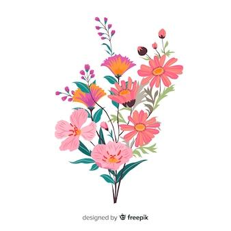 手描きのカラフルな花の枝
